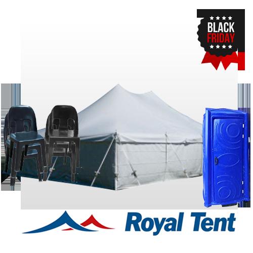 Peg & Pole 5x10m, 50 Chairs & 1 Toilet